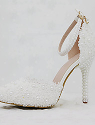 preiswerte -Damen Schuhe PU Frühling Herbst Komfort Neuheit Hochzeit Schuhe Spitze Zehe Applikation Perle Schnalle Für Hochzeit Party & Festivität