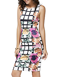 cheap -Women's Party Club Vintage Street chic A Line Bodycon Dress,Floral Plaid Round Neck Mini Sleeveless Polyester Summer Fall Mid Rise
