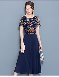 cheap -Women's Daily Going out A Line Sheath Midi Dress,Floral Round Neck Short Sleeves Summer