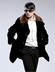 cheap -Men's Faux Fur Fur Coat - Color Block Shirt Collar