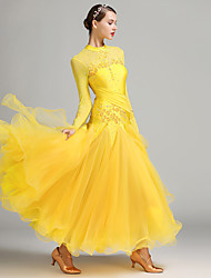 Danse de Salon Robes Femme Spectacle Spandex Tulle Fibre de Lait 1 Pièce Manche longue Taille moyenne Robe