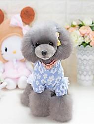 Chat Chien Robe Noël Vêtements pour Chien Soirée Décontracté / Quotidien Garder au chaud Halloween Floral/Botanique Bleu Rose Costume