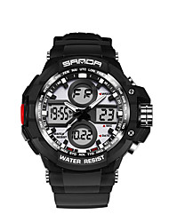 SANDA Men's Japanese Quartz Calendar Water Resistant / Water Proof Stopwatch Luminous Silicone Band Black