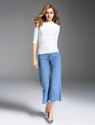 Standard Pullover Da donna-Per uscire Casual Semplice Tinta unita Colletto alla coreana Mezza manica Rayon Poliestere Nylon Autunno