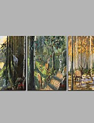 cheap -Hand-Painted Famous Horizontal Panoramic,Animals Rustic Three Panels Canvas Oil Painting For Home Decoration