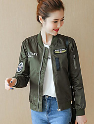 cheap -Women's Cotton Jacket - Letter, Print Stand / Fall