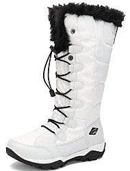 Women's Shoes Canvas Fall Winter Snow Boots Combat Boots Boots Round Toe Knee High Boots Lace-up For Outdoor Work & Safety Black White