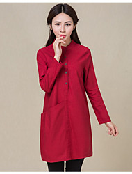 Women's Casual/Daily Shirt Dress,Solid Stand Above Knee Long Sleeves Cotton Linen Spring Fall Mid Rise Micro-elastic Medium
