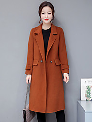 cheap -Women's Daily Sexy Winter Fall Coat,Solid Peaked Lapel Regular Polyester