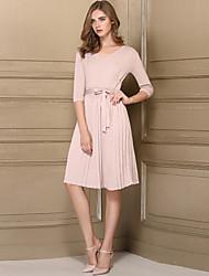 Tricot Robe Femme Décontracté / Quotidien simple,Couleur Pleine Col en V Maxi Manches 3/4 Acrylique Automne Taille Normale Elastique Moyen