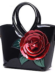 Women Bags Patent Leather Tote Flower(s) for Wedding Casual All Seasons Red Blushing Pink Dark Green Fuchsia Sky Blue