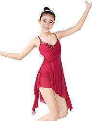 abordables -Ballet Robes Femme Utilisation Élastique Lycra Paillette Volants Sans Manches Taille moyenne Robe Coiffure