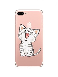 abordables -Funda Para Apple iPhone X iPhone 8 Transparente Diseños Funda Trasera Gato Suave TPU para iPhone X iPhone 8 Plus iPhone 8 iPhone 7 Plus