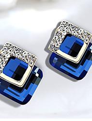 Femme Boucles d'oreille goujon Améthyste synthétique Mode Classique Cristal Alliage Forme Géométrique Bijoux Pour Soirée Quotidien