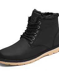 cheap -Men's Shoes PU Fall Winter Fur Lining Fluff Lining Snow Boots Fashion Boots Combat Boots Boots Booties/Ankle Boots Lace-up For Casual