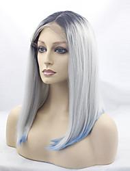 Femme Perruque Synthétique Lace Front Mi Longue Raide Gris Cheveux Colorés Racines foncées Au Milieu Perruque de Cosplay Perruque