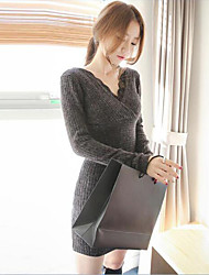 Women's Casual/Daily Sweater Dress,Solid V Neck Above Knee Long Sleeves Cotton Spring Fall High Rise Stretchy Medium