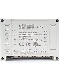 sonoff® 4ch pro 10a 2200w rf pas à pas / auto-verrouillage / interlock smart home wifi sans fil commutateur application ac 90v-250v / 5-24v dc