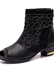 economico -Da donna Stivaletti da danza Finta pelle Stivali Sneaker Professionale A fiore Quadrato Nero