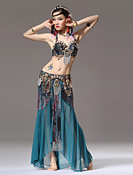 cheap -Belly Dance Outfits Women's Performance Cotton Polyester Chiffon Ice Silk Pattern / Print Gold Coin Paillette Tassel Ruffles Skirts Bra