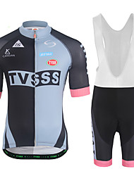 cheap -Men's Short Sleeves Cycling Jersey with Bib Shorts - White Black Bike Clothing Suits