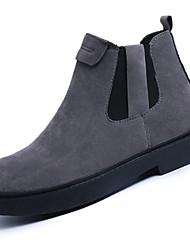Недорогие -Для женщин Обувь Нубук Полиуретан Зима Удобная обувь Модная обувь Ботинки Круглый носок На эластичной ленте Назначение Повседневные