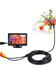 abordables -5.5mm dia av endoscopio 5v ntsc inspección cámara de boroscopio 5m visión nocturna serpiente video cámara con 4.3 pulgadas tft monitor a