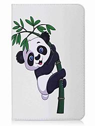 panda et porte-cartes en bambou porte-cartes avec étui en cuir magnétique pu boîtier en cuir pour samsung galaxy tab e 9.6 t560 t561