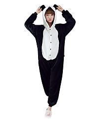 abordables -Pijamas Kigurumi Oso Panda Pijamas de una pieza Disfraz Lana Polar Negro/Blanco Cosplay por Ropa de Noche de los Animales Dibujos animados