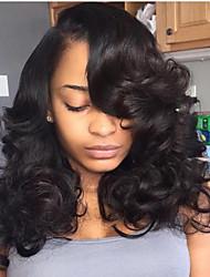 Women Human Hair Lace Wig Brazilian Human Hair Lace Front 130% Density Layered Haircut With Baby Hair Deep Wave Wig Black Medium Brown