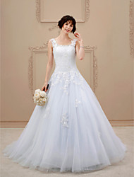 cheap -A-line Scoop Court Train Tulle Wedding Dress with Appliques by LAN TING BRIDE®