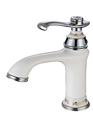 Contemporary Modern Style Centerset High Quality Ceramic Valve Single Handle One Hole Chrome , Bathroom Sink Faucet