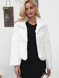 Women's Casual/Daily Simple Fall Winter Fur Coat,Solid Stand Long Sleeve Short Rex Rabbit Fur