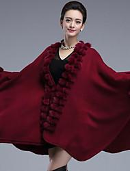 economico -mantella di perline in pelliccia ecologica / mantella da sera per donna elegante stile