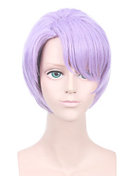 cheap -Synthetic Hair Wigs Straight Side Part Middle Part Pixie Cut With Bangs Capless Halloween Wig Party Wig Cosplay Wig Short Purple