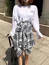 abordables -Mujer Bonito Noche Verano T-Shirt Falda Trajes,Escote Redondo A Rayas Manga Larga