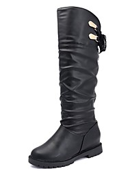 Women's Shoes PU Fall Winter Comfort Fashion Boots Boots Low Heel Pointed Toe Thigh-high Boots Lace-up For Casual Coffee Black White