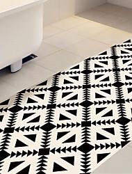 cheap -DIY 3D Beige & Black Geometry Antiskid Floor Stickers Home Decor Pattern Floor Anti-slip Ground Decal for Washroom Kids Room 60*120cm