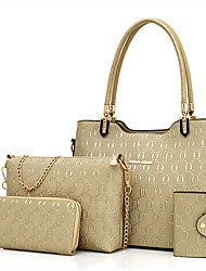 Mulher Bolsas Todas as Estações Couro Ecológico Conjuntos de saco Conjunto de bolsa de 4 pcs Ziper para Casual Azul Dourado Preto