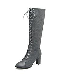 Feminino Sapatos Pele Nobuck Inverno Botas da Moda Botas Salto Grosso Ponta Redonda Botas Cano Médio Cadarço Para Casual Social Preto