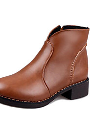 cheap -Women's Shoes Nubuck leather Fall Winter Combat Boots Boots Chunky Heel Booties/Ankle Boots For Casual Brown Black
