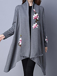 cheap -Women's Street chic Trench Coat-Solid Colored Floral Print Stand