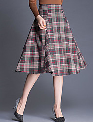 cheap -Women's Work Casual/Daily Midi Skirts A Line Pencil Polyester Check Fall