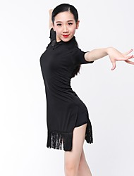 cheap -Latin Dance Dresses Women's Performance Rayon Tassel Half Sleeves Dress