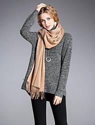 Normal Pullover Femme Sortie Décontracté / Quotidien simple,Couleur Pleine Col Roulé Manches Longues Acrylique Nylon Hiver Moyen Elastique