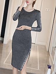 Gaine Robe Femme Sortie Décontracté / Quotidien simple,Couleur Pleine Col Arrondi Mi-long Manches Longues Polyester Automne Hiver Taille