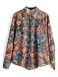 Women's Going out Casual/Daily Street chic Sophisticated Fall Winter Shirt,Print Shirt Collar Long Sleeves Cotton Polyester Medium