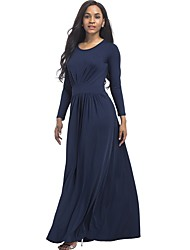 cheap -Women's Plus Size Loose Dress - Solid, Ruched Maxi