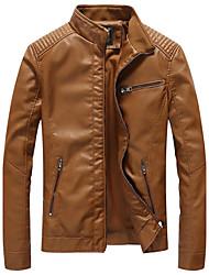 Недорогие -Муж. Большие размеры Куртка Воротник-стойка Однотонный