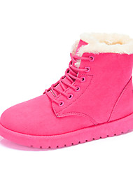 cheap -Women's Shoes Fabric Winter Fur Lining Snow Boots Fashion Boots Boots Lace-up For Casual Outdoor Brown Fuchsia Gray Beige Black